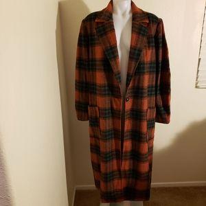 Leith single button plaid long coat